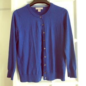 Royal blue 3/4 sleeve button down cardigan BR